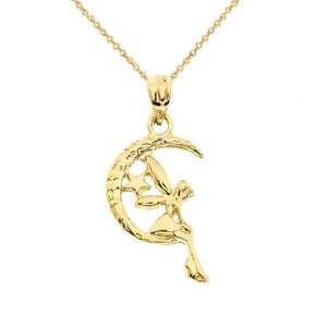Tinkerbell Fairy Tale on The Moon Charm Pendant and Necklace in Gold