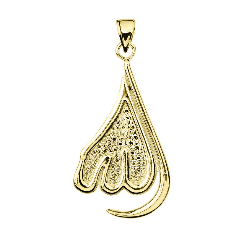 Allah Teardrop Calligraphy Islamic Muslim Prayer Charm Pendant in Gold - solid gold, solid gold jewelry, handmade solid gold jewelry, handmade jewelry, handmade designer jewelry, solid gold handmade designer jewelry, chic jewelry, trendy jewelry, trending jewelry, jewelry that's trending, handmade chic jewelry, handmade trendy jewelry, mod-chic jewelry, handmade mod-chic jewelry, designer jewelry, chic designer jewelry, handmade designer