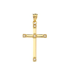 Classy Elegant Diamond Simple Cross Charm Pendant and Necklace in Gold