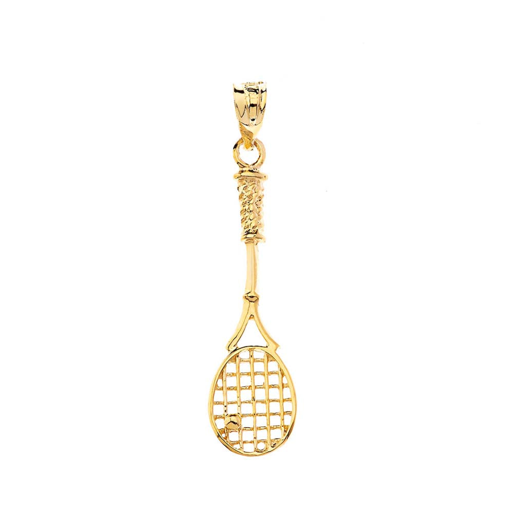 Tennis Racket Charm Pendant and Necklace in Gold