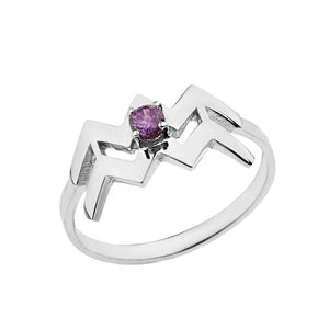 Zodiac Rings with Birthstones for Women in Sterling Silver
