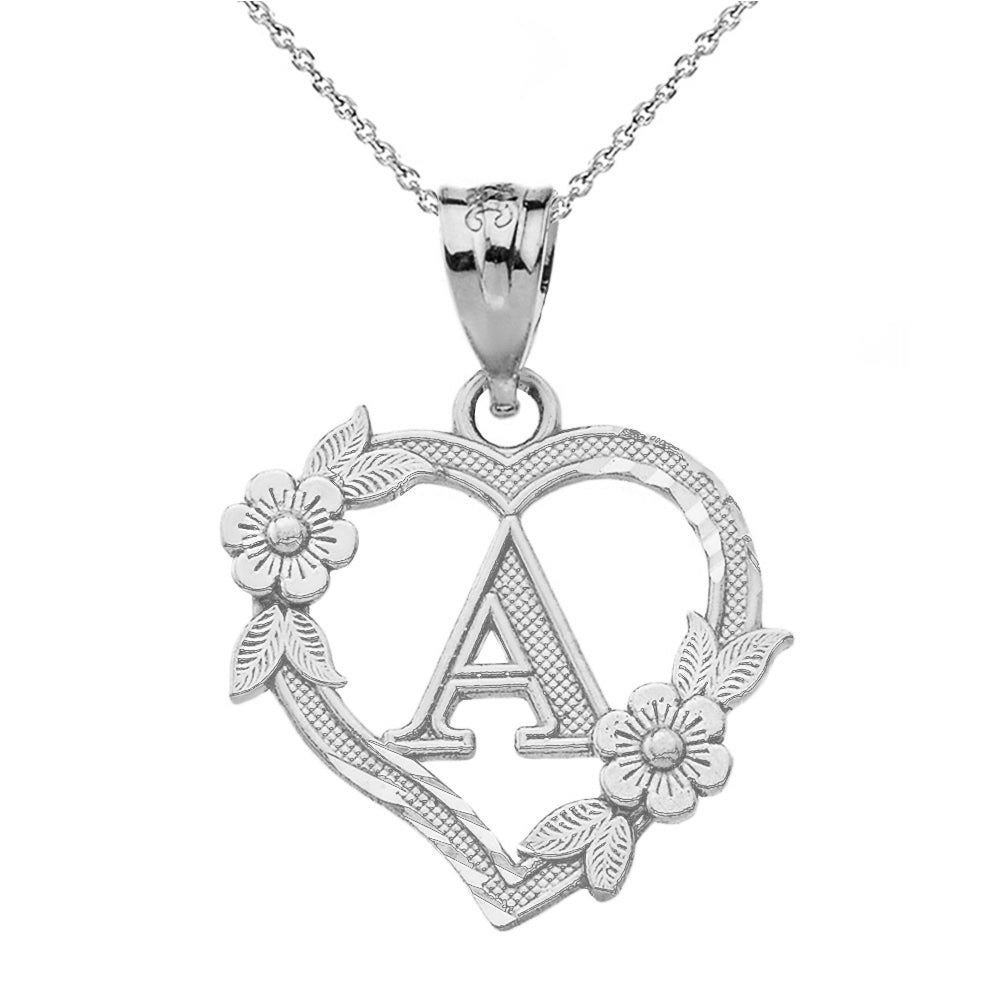 Alphabet Initial Heart Pendant for Women in Sterling Silver