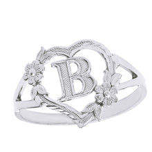 Load image into Gallery viewer, Alphabet Initial Heart Ring for Women in Sterling Silver