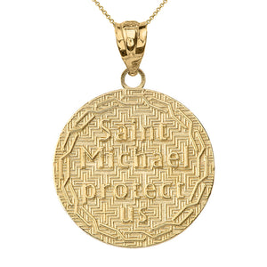 Saint Michael Protect Us Coin Charm Pendant and Necklace in Gold