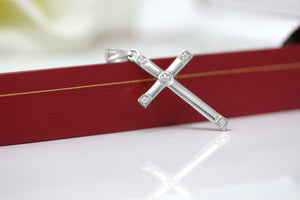 Classy Elegant Diamond Simple Cross Charm Pendant and Necklace in Sterling Silver