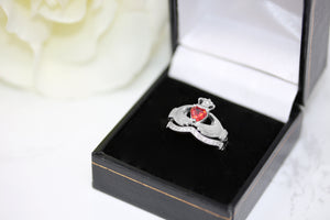 Irish Claddagh Braided Birthstone Ring Set in Sterling Silver (2 rings - Engagement and Wedding Ring)