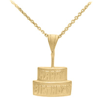 Load image into Gallery viewer, Birthday Cake Pendant in Gold