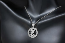 Load image into Gallery viewer, Saint George Pray for Us Round Charm Pendant and Necklace in Sterling Silver