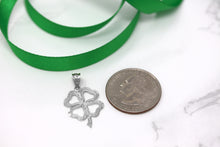 Load image into Gallery viewer, Lucky Charm Four Leaf Clover Shamrock Irish Charm Pendant and Necklace in Gold