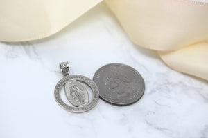 Saint Mary Pray Us Round Charm Pendant and Necklace in Sterling Silver