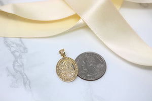 Saint Joseph Pray For Us Oval Charm Pendant Necklace in Gold