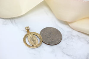 Saint Mary Pray Us Round Charm Pendant Necklace in Gold