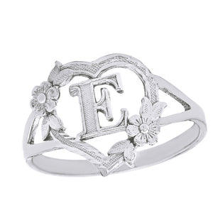Alphabet Initial Heart Ring for Women in Sterling Silver