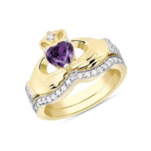 Irish Claddagh Birthstone Ring Set in Gold with Diamonds (2 rings - Engagement and Wedding Ring)