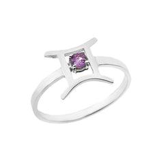 Load image into Gallery viewer, Zodiac Rings with Birthstones for Women in Sterling Silver