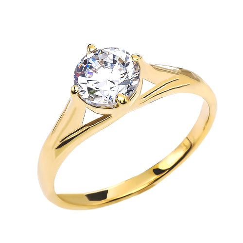 Unique Cubic Zirconia Solitaire Engagement Ring in Gold