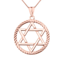 Load image into Gallery viewer, Jewish Star of David in Rope Charm Pendant and Necklace in Gold