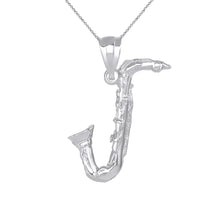 Load image into Gallery viewer, Handmade Saxophone Jazz Musician Charm Pendant and Necklace in Gold