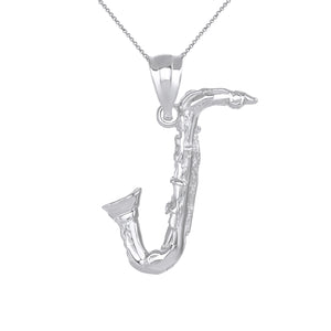 Handmade Saxophone Jazz Musician Charm Pendant and Necklace in Gold
