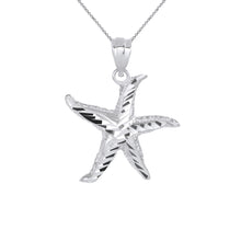 Load image into Gallery viewer, Sparkling Starfish Beach Charm Pendant and Necklace in Sterling Silver
