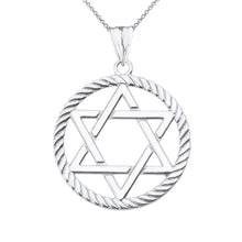 Load image into Gallery viewer, Jewish Star of David in Rope Charm Pendant and Necklace in Sterling Silver