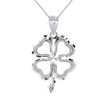 Load image into Gallery viewer, Lucky Charm Four Leaf Clover Shamrock Irish Charm Pendant and Necklace in Sterling Silver