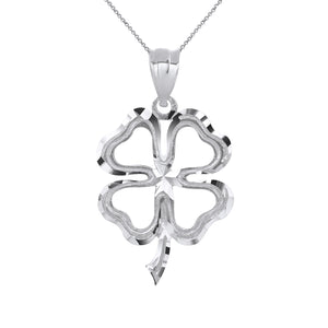 Lucky Charm Four Leaf Clover Shamrock Irish Charm Pendant and Necklace in Sterling Silver