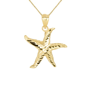 Sparkling Starfish Beach Charm Pendant and Necklace in Gold