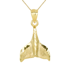 Whale Tail Charm Pendant and Necklace in Gold