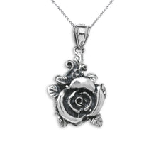 Load image into Gallery viewer, Beautiful Rose Oxidized Antique Rose Charm Pendant in Sterling Silver
