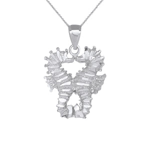 Two Seahorses Kissing Charm Pendant and Necklace in Sterling Silver