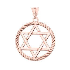 Jewish Star of David in Rope Charm Pendant and Necklace in Gold