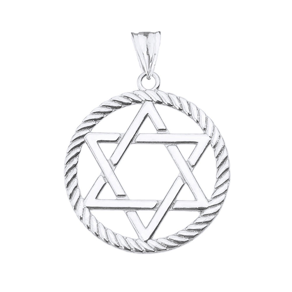 Jewish Star of David in Rope Charm Pendant and Necklace in Sterling Silver