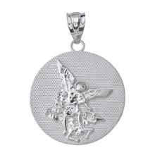 Load image into Gallery viewer, Saint Michael Protect Us Coin Charm Pendant and Necklace in Sterling Silver