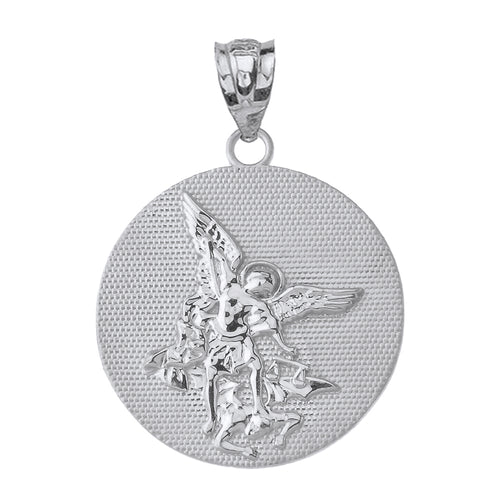 Saint Michael Protect Us Coin Charm Pendant and Necklace in Sterling Silver