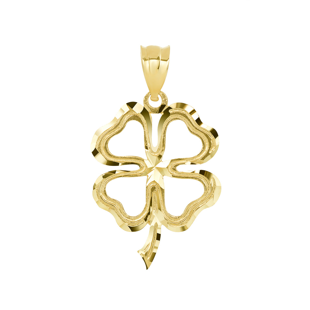 Lucky Charm Four Leaf Clover Shamrock Irish Charm Pendant and Necklace in Gold