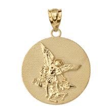Load image into Gallery viewer, Saint Michael Protect Us Coin Charm Pendant and Necklace in Gold