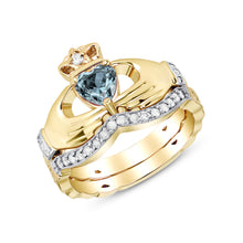 Load image into Gallery viewer, Irish Claddagh Braided Birthstone Ring Set in Gold with Diamonds (2 rings - Engagement and Wedding Ring)