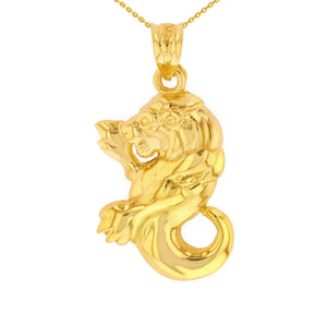 Leo Zodiac Lion Animal Pendant Necklace in Gold