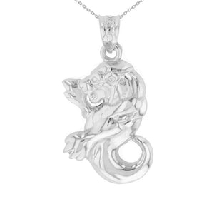 Leo Zodiac Lion Animal Pendant Necklace in Sterling Silver