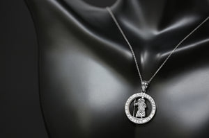 Round Saint Christopher Charm Pendant and Necklace in Sterling Silver