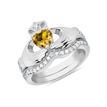 Load image into Gallery viewer, Irish Claddagh Birthstone Ring Set in Sterling Silver (2 rings - Engagement and Wedding Ring)