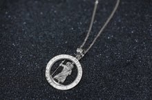 Load image into Gallery viewer, Round Saint Christopher Charm Pendant and Necklace in Sterling Silver
