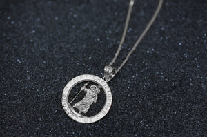 Round Saint Christopher Charm Pendant and Necklace in Gold
