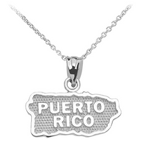 Load image into Gallery viewer, Puerto Rico Pendant in Sterling Silver - solid gold, solid gold jewelry, handmade solid gold jewelry, handmade jewelry, handmade designer jewelry, solid gold handmade designer jewelry, chic jewelry, trendy jewelry, trending jewelry, jewelry that's trending, handmade chic jewelry, handmade trendy jewelry, mod-chic jewelry, handmade mod-chic jewelry, designer jewelry, chic designer jewelry, handmade designer, affordable jewelry