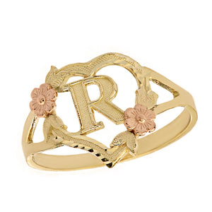 Alphabet Initial Heart Ring for Women in Two-Tone Gold