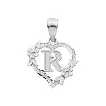 Load image into Gallery viewer, Alphabet Initial Heart Pendant for Women in Sterling Silver