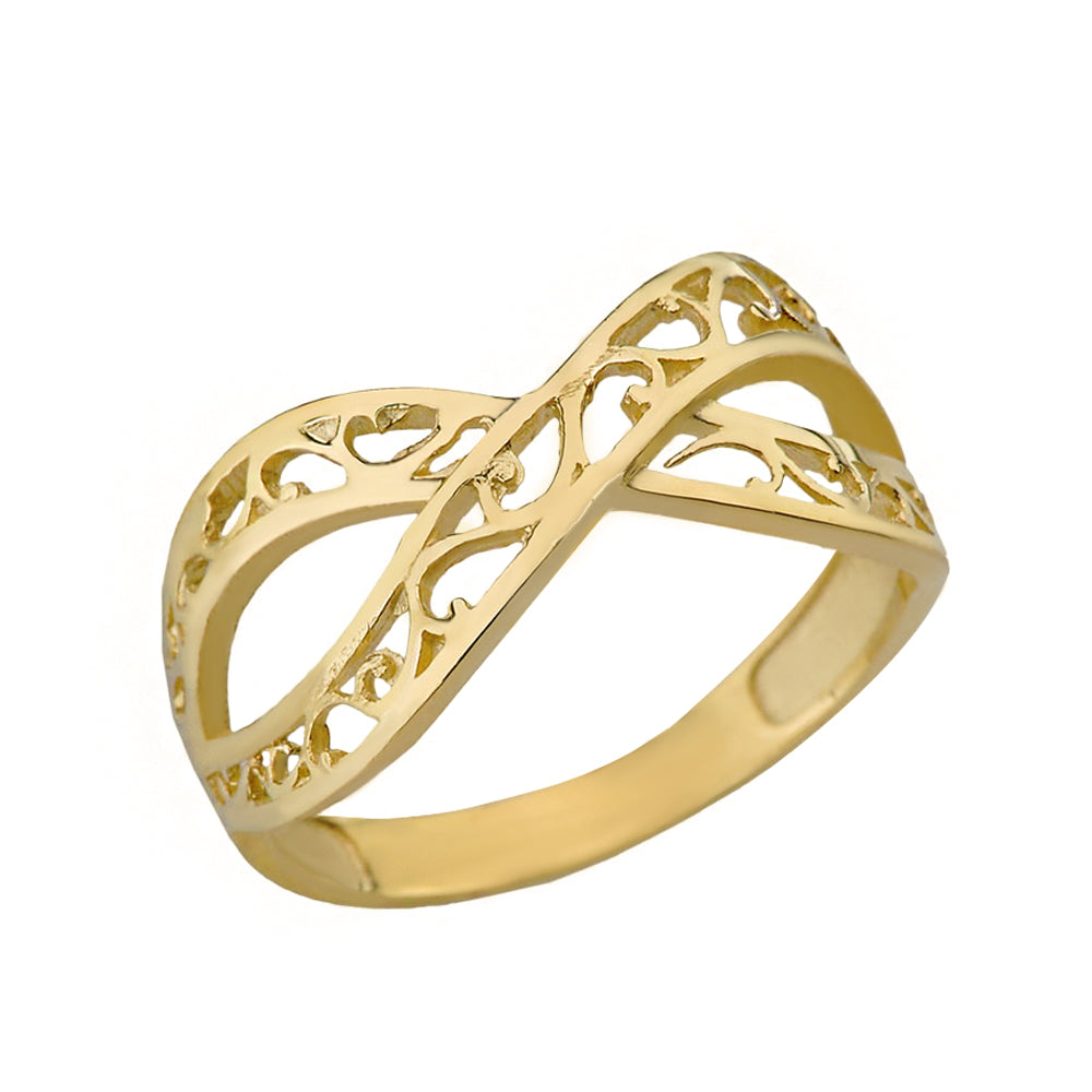Forever Filigree Infinity Ring in Gold - solid gold, solid gold jewelry, handmade solid gold jewelry, handmade jewelry, handmade designer jewelry, solid gold handmade designer jewelry, chic jewelry, trendy jewelry, trending jewelry, jewelry that's trending, handmade chic jewelry, handmade trendy jewelry, mod-chic jewelry, handmade mod-chic jewelry, designer jewelry, chic designer jewelry, handmade designer