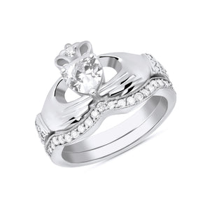 Irish Claddagh Birthstone Ring Set in Sterling Silver (2 rings - Engagement and Wedding Ring)