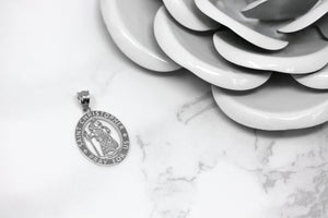 Oval Saint Christopher Charm Pendant and Necklace in Gold